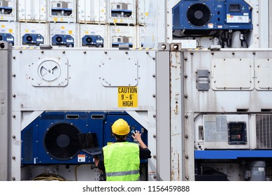 Reefer technician is monitoring the reefer container while is working at container depot.