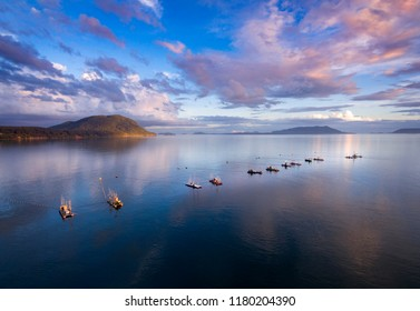 Reefnet Salmon Fishing Boats in the Salish Sea. Salmon reefnet fishing is an historical Pacific Northwest fishing method- the oldest known salmon net fishery in the world.