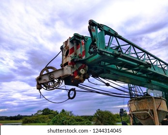 Reel, hoist, pully on truck crane with beautiful sky