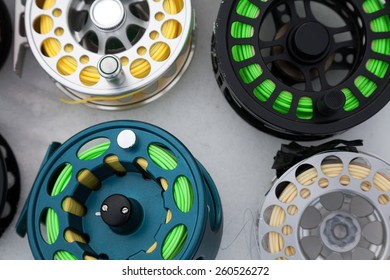 reels for fly fishing on a white background