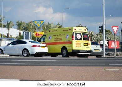 Re'em Junction, Israel - Ferbruary 4 2020:   A Palestinian Intensive Care Unit rides in israel area to evacuate sick or injured person from Gaza to Israeli hospital.