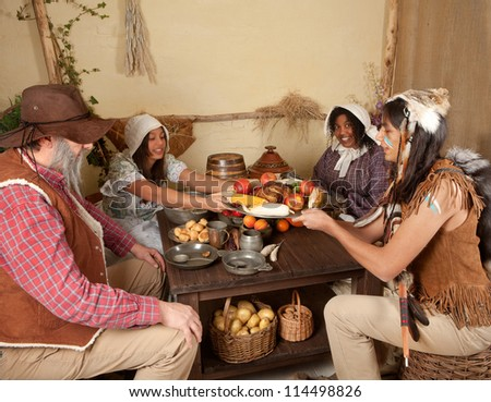 Reenactment Scene First Thanksgiving Dinner Plymouth Stock Photo