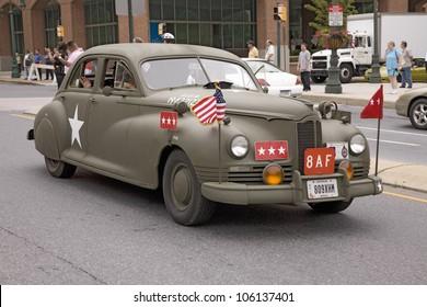 Reenactment of World War II 1940s style car in Reading, PA held June 18, 2008