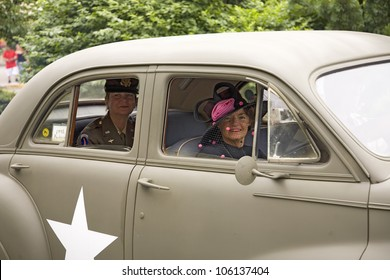 Reenactment of World War II 1940s style car in Reading, PA held June 18, 2009