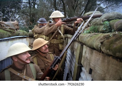 Reenactors of the Great War Society in the uniforms of the British Tommy of WW1 armed with Lee Enfield rifle's. This image was taken at York England 1998