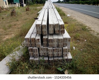 Reengus/India-Oct 07, 2019: Electric poles outside the 220 kv power grid sub-station at Reengus town near Jaipur. These poles are made of cement concrete.