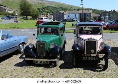 Reeth, North Yorkshire, England,UK. 17 July 2017. Austin 7 Vintage cars.