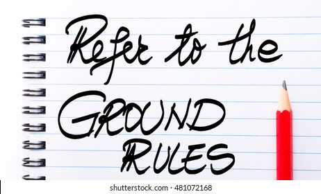 Refer To The Ground Rules written on notebook page with red pencil on the right as Business Concept