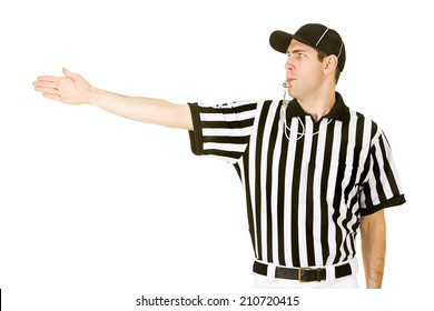 Referee: Blowing Whistle and Calling First Down On Play