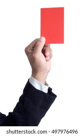 Referee hand showing red card misconduct isolated on white background