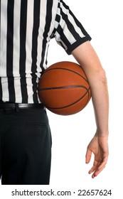 Referee holding basketball isolated on white