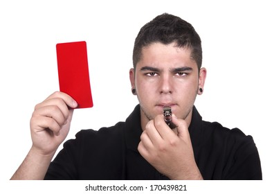 Referee holding red card for foul concept on white background