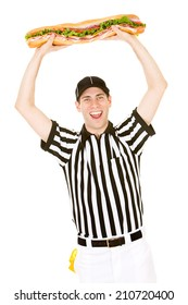 Referee: Man Cheers And Holds Up Giant Sandwich