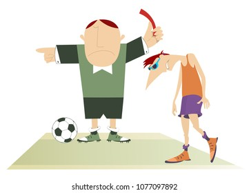 Referee with a red card and upset football player vector illustration. Angry referee shows a red card and sends upset hanging head football player off the field illustration