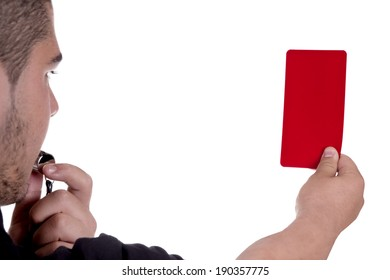 Referee showing the red card on white background
