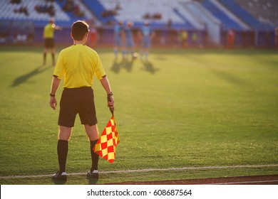 referee soccer. referee is on the field. football in Russia