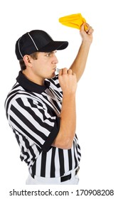 Referee: Throwing A Penalty Flag And Blowing Whistle