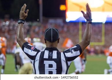 Referee touchdown signal - Clemson Tigers host Georgia Tech Yellow Jackets on Thursday 8-29-19 at Clemson Memorial Stadium in Clemson South Carolina USA