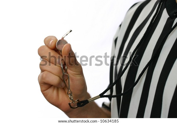 Referee with whistle