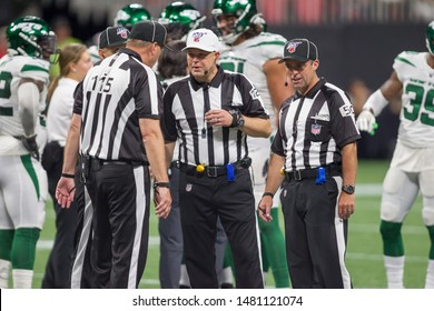 Referees on field - week #3 of the 2019 NFL Pre-Season Game Atlanta Falcons Host the New York Jets on Thursday August 15th 2019 at the Mercedes Benz Stadium in Atlanta Georgia USA