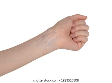 The reference of the hands on a solid background. Movements of the hands. Veins on the arm