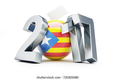 referendum in Catalonia 2017 on a white background 3D illustration, 3D rendering