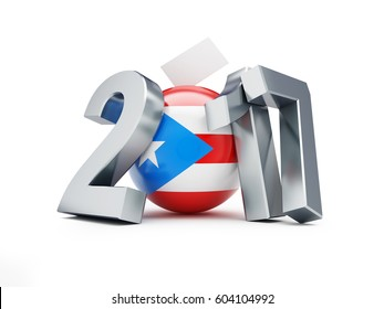 Referendum on the status of Puerto Rico 2017 on a white background 3D illustration