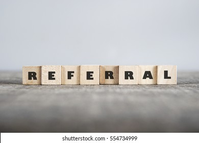 REFERRAL word made with building blocks