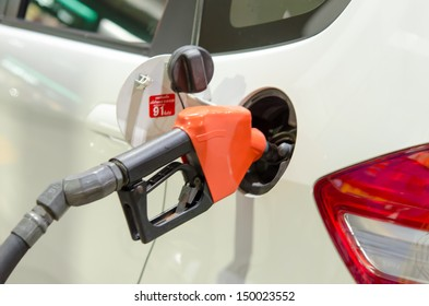 refilling the car with fuel on a filling station