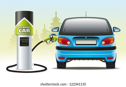 Refilling a hybrid car. Illustration of refueling the car with a hybrid engine fuel for automotive refueling.