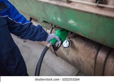 Refilling the tank with gasoline, diesel