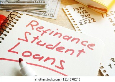 Refinance Student Loans form on a desk.