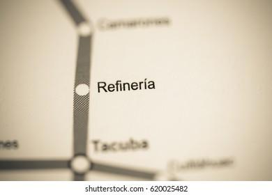 Refineria Station. Mexico City Metro map.