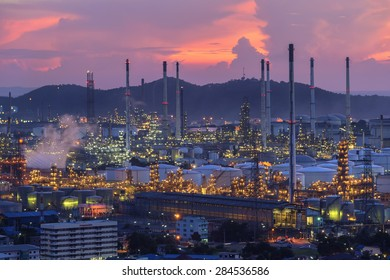Refinery in the city and twilight sky