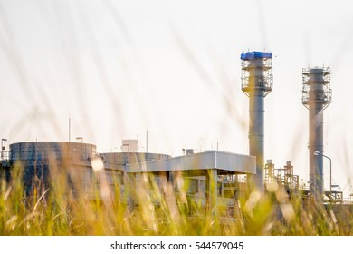 Refinery Gas turbine electric power plant in night at Amata industrial estate, Factory