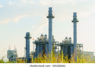 Refinery Gas turbine electric power plant with blue sky in Amata industrial estate, Factory