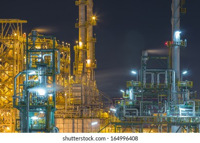 Refinery industrial factory in night time