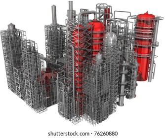 refinery isolated on white 3d render