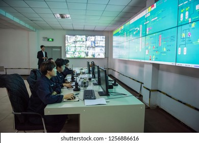 Refinery monitoring room and external plant, workshop. October 19, 2016, in Luannan County, Tangshan City, Hebei Province, China