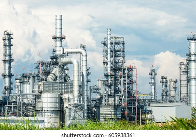Refinery oil and gas industry, The equipment of oil refining, Close-up of Pipelines and petrochemical industrial plant towers