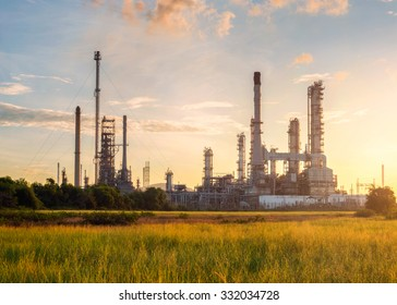refinery oil at sunset time
