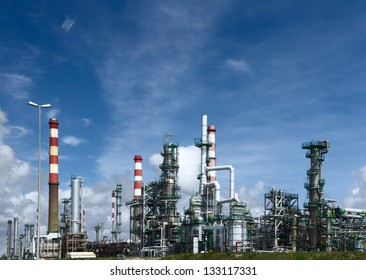refinery, a lot of pipes, good weather