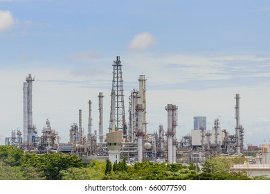 The refinery plant at the daylight scene.