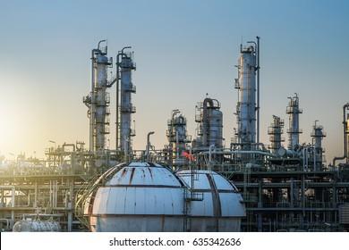 Refinery plant on sky sunset background.