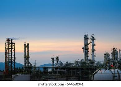 Refinery plant on sky sunset.