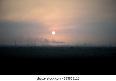 Refinery silhouette.