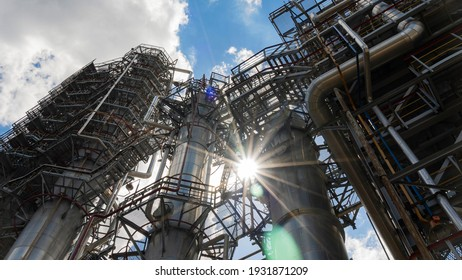 Refinery and storage facilities of oil and petroleum products. Oil products reservoirs.