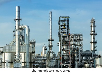 Refinery tower in petrochemical industrial plant with blue sky