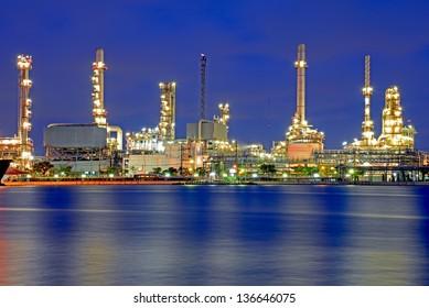 Refinery at twilight in Bangkok Thailand