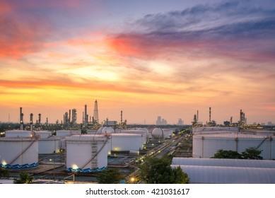 Refinery at twilight and oil thank petrochemical plant